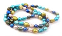 Vibrant Metallic Blue Freshwater Pearl Necklace.